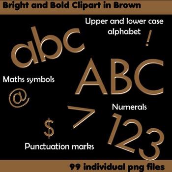 Alphabet Clip Art Bright & Bold in Brown + Numerals, Math