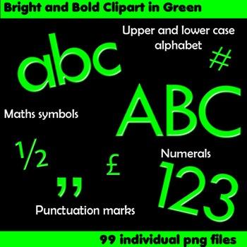 Alphabet Clip Art Bright & Bold in Green + Numerals, Math