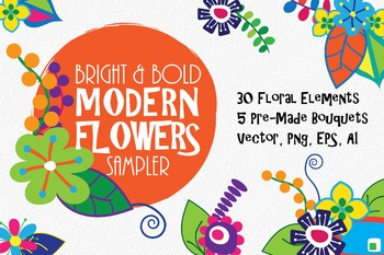 Bright and Bold Modern Flowers Floral Clip Art Sampler - 3