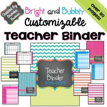 EDITABLE Teacher Binder 2016-2017 {Bright and Bubbly}
