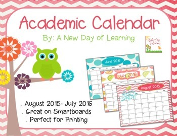 Bright and Colorful 2015-2016 Academic Calendar