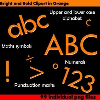 Alphabet Clip Art Bright & Bold in Orange + Numerals, Math