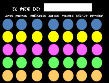 Bright colors and Black Spanish Blank Calendar page