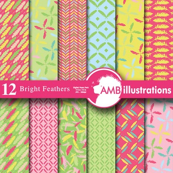 Digital Papers - Feather pattern paper and backgrounds, AMB-452
