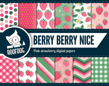 Bright pink strawberry digital papers summer berry fruit patterns