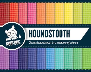 Bright rainbow houndstooth pattern digital paper