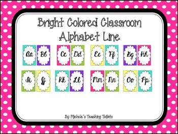 Brightly Colored Cursive Alphabet Line