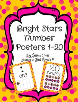 Brightly Colored Stars Number Posters 1-20