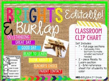 Brights & Burlap Clip Chart - EDITABLE!