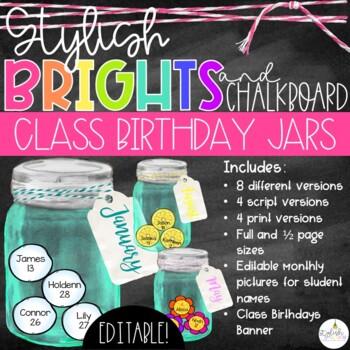 Brights & Chalkboard Class Birthday Mason Jars