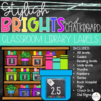 Brights & Chalkboard Classroom Library Labels