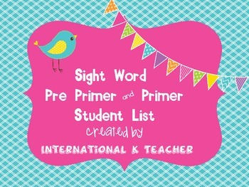 Brights Dolch Pre Primer and Primer Sight Words Ref Card f