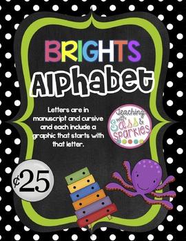 Brights Manuscript and Cursive Alphabet Posters