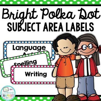 Brights Polka Dot Subject Area Labels: Freebie, Classroom