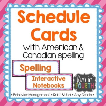 Editable Schedule Cards Bright Themed