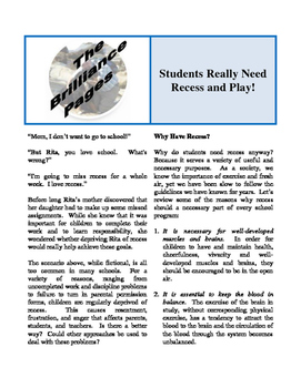 Brilliance Pages - Students Need Recess; Dyslexic Learning Styles