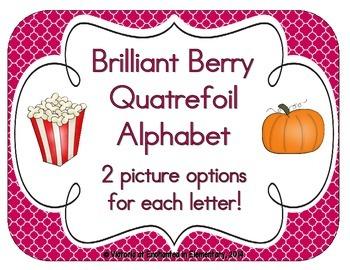 Brilliant Berry Quatrefoil Alphabet Cards