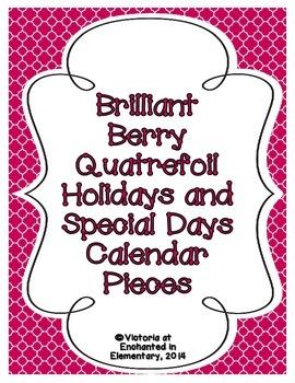 Brilliant Berry Quatrefoil Holiday Calendar Pieces