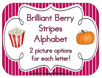 Brilliant Berry Stripes Alphabet Cards