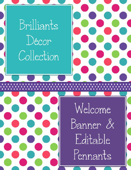 Brilliants Decor: Welcome Banner & Editable Pennants