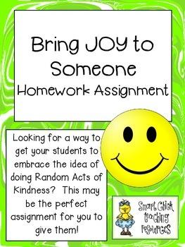 Bring JOY Homework Assignment ~ Random Act of Kindness FREEBIE