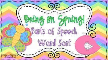 Bring on Spring Parts of Speech Word Sort