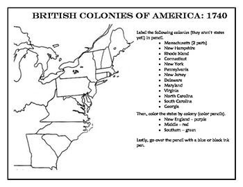 British Colony Political Map and Directions Sheet