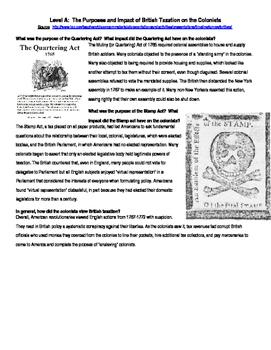 British Taxes, Leveled Text