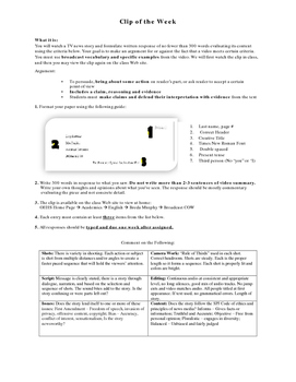Broadcast Journalism News Story Critique Writing Assignment