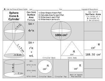 Brocci Bundles: Surface Area & Volume of Common Geometric