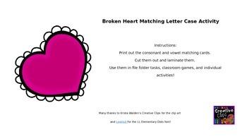 Broken Heart Letter-Case Matching Activity