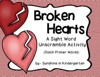 Broken Hearts {A Sight Word Unscramble Activity}