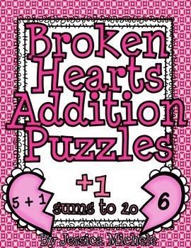 Broken Hearts Addition Puzzle {+1 Sums To 20}