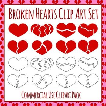 Broken Hearts Commercial Use Clip Art Set