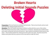 Broken Hearts Initial Phoneme Deletion Puzzle - A Valentin