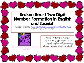 Broken Hearts Two Digit Number Formation in English and Spanish