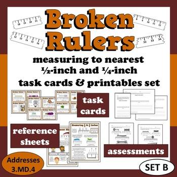 Broken Rulers - measure to nearest 1/2 & 1/4 inch task car