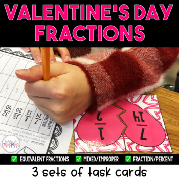 Brokenhearted Valentine Fraction Task Cards - Equivalent,