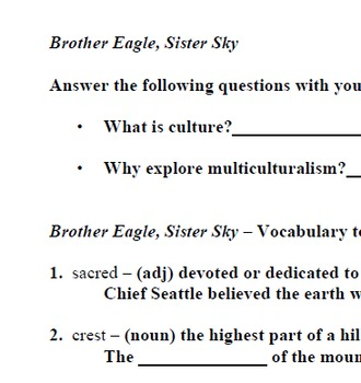 Brother Eagle, Sister Sky; Printables