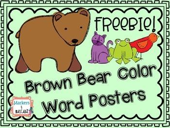 Brown Bear Color Word Posters Freebie