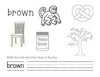 Brown Color and Write Worksheet