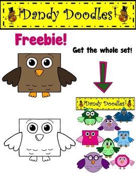 Brown Owl FREEBIE Clip Art by Dandy Doodles