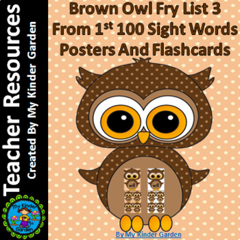 Brown Owl Fry List 3 From 1st 100  Sight Word Flashcards a