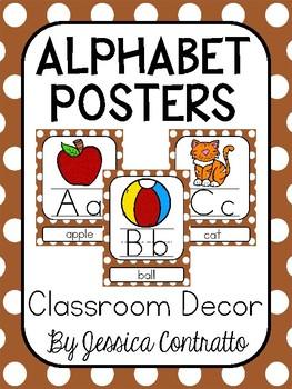 Brown Polka Dot ABC Posters