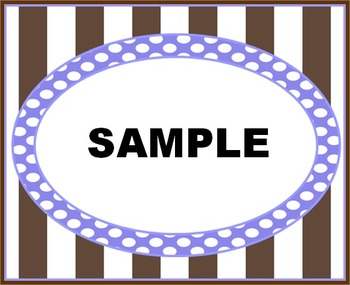 Brown Stripes With Blue Dots Labels