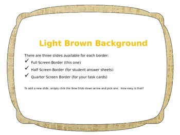 Brown Task Card Starter! {3 Different Borders!]