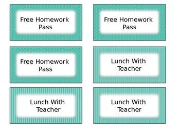 Brown & Teal  Classroom Management Positive Reward Tickets