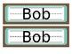 Brown, Teal & Green Name Tags Desk Plates - Editable
