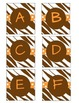 Brown Zebra with Coral Polka Dot Boggle Letters
