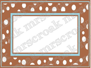 FREE - Labels: brown & baby blue polka dots, 10 per page